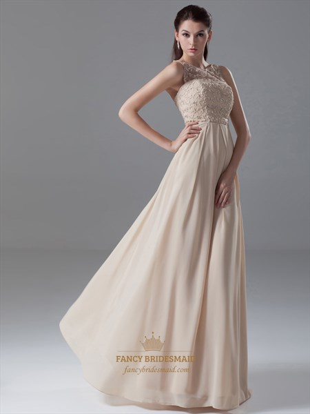 Champagne Chiffon Sheer Illusion Neckline Dress With Embellished Bodice