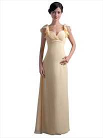 Yellow Chiffon Empire Waist Long Bridesmaid Dress With Flutter Sleeves