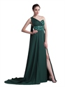 Dark Green Chiffon One Shoulder Prom Dresses With Slits And Open Back