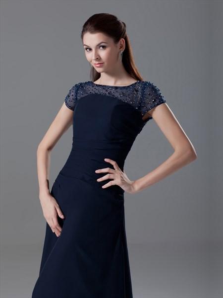 Navy Blue Beaded Illusion Neckline Chiffon Prom Dress With Cap Sleeves