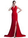 Red Chiffon Halter Neck Mermaid Floor Length Prom Dress With High Slits