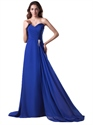 Royal Blue Strapless Flowy Chiffon Bridesmaid Dresses With Beaded Detail