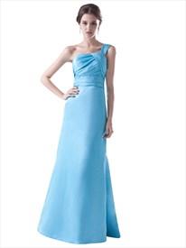 Aqua Blue One Shoulder A-Line Taffeta Bridesmaid Dress With Ruffle Detail