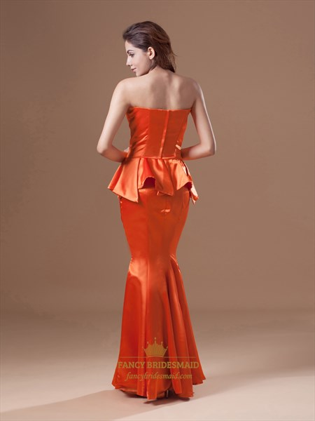 Orange Mermaid Floor Length Strapless Sweetheart Peplum Prom Dress