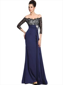 Navy Blue Chiffon Off The Shoulder Lace Bodice Prom Dress With Sleeves