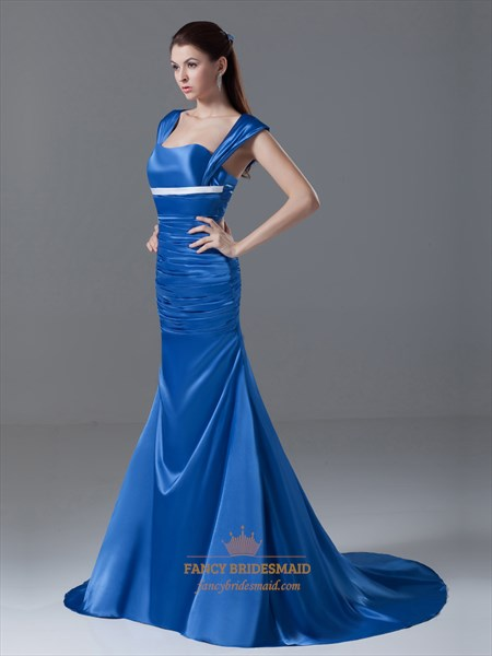 Royal Blue Mermaid Cap Sleeves Court Train Prom Dresses With Cutouts