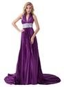 Purple Halter V Neck Floor Length Prom Dress With Sequin Embellishment