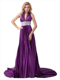 Purple Halter V Neck Floor Length Prom Dress With Sequin Embellishment