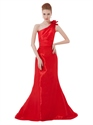 Red One Shoulder Mermaid Pleated Open Back Long Prom Dress With Flowers