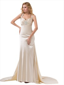 Champagne Beaded Floor Length Sheath Cut Out Back Prom Dress With Train
