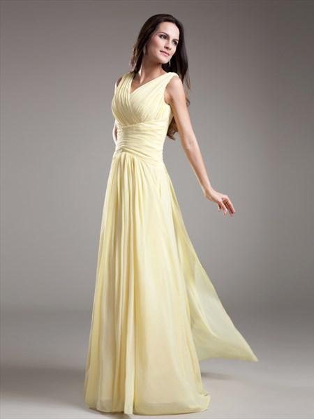 Elegant Light Yellow V Neck Sleevless Ruched Chiffon Bridesmaid Dress Sku Nw980