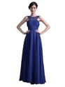 Royal Blue Chiffon Beaded Bridesmaid Dress With Jewelled Neckline