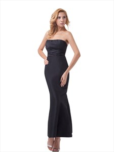 Black Strapless Mermaid Ankle Length Prom Dress With Bow On Back