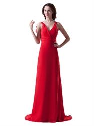 Red Chiffon V Neck Sleeveless Bridesmaid Dresses With Ruffle Back Detail