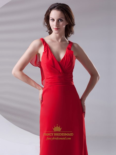 Red Chiffon V Neck Sleeveless Bridesmaid Dresses With Ruffle Back Detail