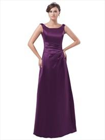 Elegant Purple Sleeveless Scoop Neck Floor Length Satin Bridesmaid Dress