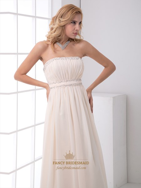 Champagne Strapless Ruched Bodice Beaded Chiffon Floor Length Prom Dress