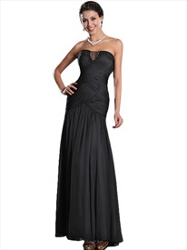 Black Sheath Strapless Chiffon Ruched Prom Dress With Embellished Bodice