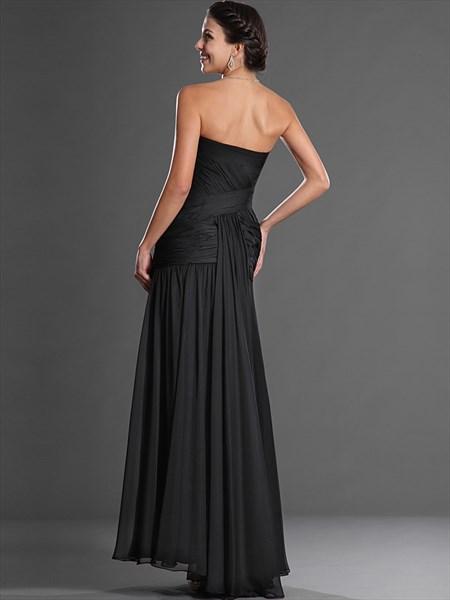 Black Sheath Strapless Chiffon Ruched Prom Dress With Embellished Bodice