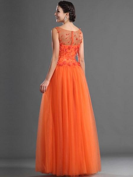 Orange Sheer Illusion Neckline Floor Length Tulle Prom Dress With Petals