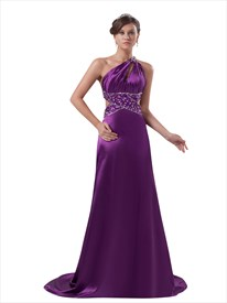 Purple Open Back One Shoulder Court Train Beaded Prom Dress Cutout Sides