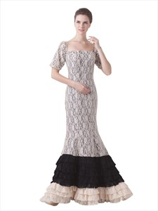 Champagne Lace Overlay Mermaid Layered Skirt Prom Dress With Sleeves