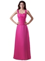 Hot Pink Chiffon Beaded Bridesmaid Dresses With Straps