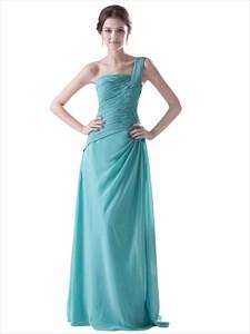 Turquoise One Shoulder Side Gathered Full Length Bridesmaid Dress
