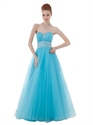 Light Blue Strapless Tulle Prom Dress With Beaded Sweetheart Neckline