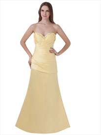 Yellow Beaded Sweetheart Neckline Strapless Sheath Prom Dress