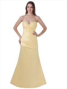 Yellow Beaded Sweetheart Neckline Strapless Sheath Prom Dress