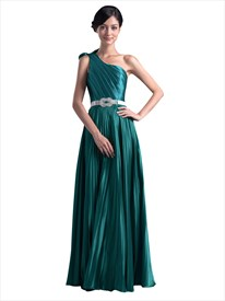 Emerald Green One Shoulder Bow Trim Prom Dress With Beaded Detail