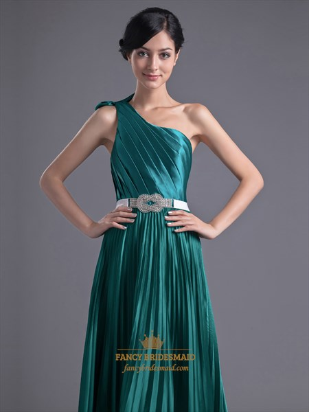 9300e0ac018 Emerald Green One Shoulder Bow Trim Prom Dress With Beaded Detail ...