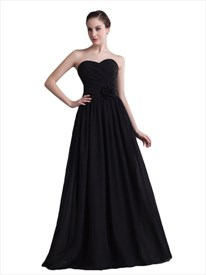 Black Chiffon Strapless Sweetheart Bridesmaid Dresses With Flower Detail