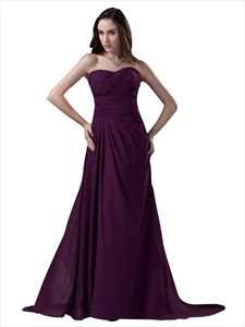 Grape Chiffon Sweetheart Strapless Bridesmaid Dresses With Sweep Train