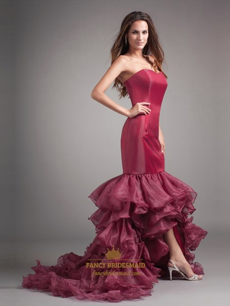 Burgundy Mermaid High Low Strapless Evening Dress With Ruffled Skirt