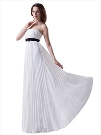 White Strapless Crinkle Chiffon Bridesmaid Dress With Black Sash