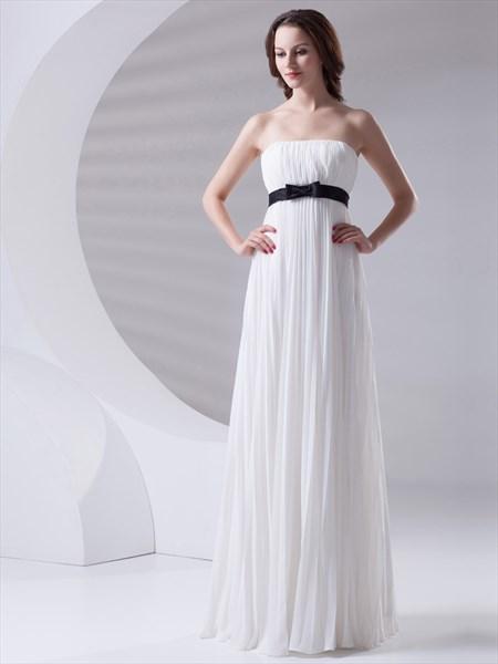 61d0a9b5d537 White Strapless Crinkle Chiffon Bridesmaid Dress With Black Sash