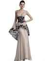 Champagne Peplum Mermaid V-Neck Chiffon Prom Dress With Black Lace