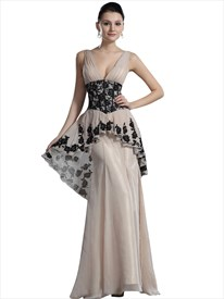 Champagne Peplum Mermaid V-Neck Chiffon Prom Dress With Black Lace