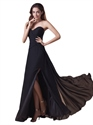Black Chiffon Sweetheart Strapless Bridesmaid Dresses With Slits