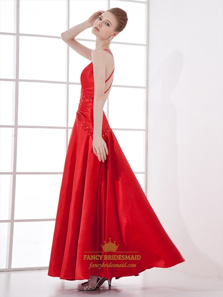 Red V Neck Spaghetti Strap Beaded Prom Dress With Criss Cross Open Back