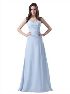 Sky Blue Spaghetti Strap Chiffon Bridesmaid Dresses For Beach Wedding