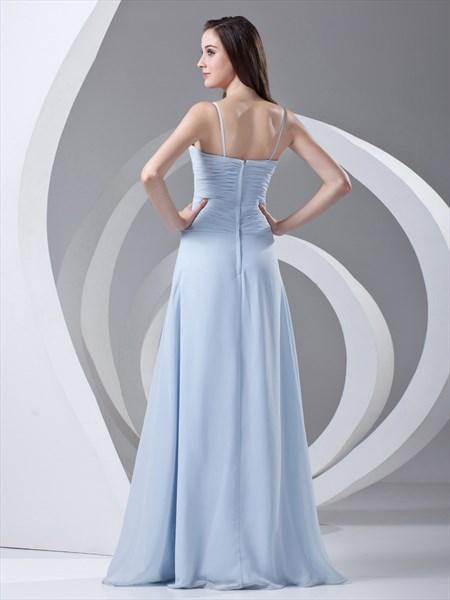 Sky Blue Spaghetti Strap Chiffon Bridesmaid Dresses For Beach Wedding Sku Nw1014