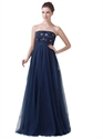 Navy Blue Strapless Beaded Bodice Empire Waist Tulle Prom Dress