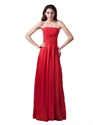 Red Strapless Floor Length Appliqued Prom Dress With Embellished Bodice