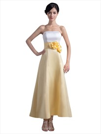 White And Yellow Ankle Length Bridesmaid Dresses With Flower Detail