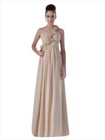 Champagne Chiffon One Shoulder Flower Strap Long Bridesmaid Dresses