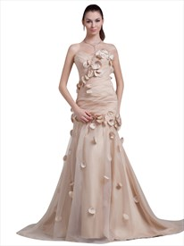 Champagne Strapless Sweetheart Mermaid Organza Prom Dress With Petals