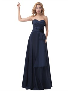 Navy Blue Strapless Sweetheart Flower Detail Bridesmaid Dress With Bow
